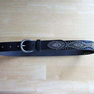 Lucky Brand Black Leather Phoenix Beaded Belt